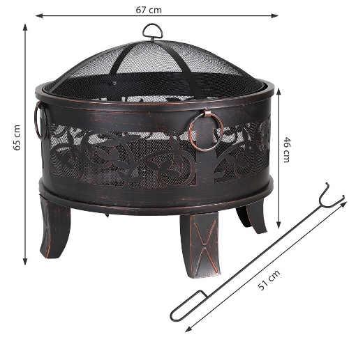 Kruhové kovové zahradní ohniště na nožičkách průměr 67 cm