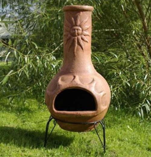Terakotový zahradní krb sluneční motiv 95 cm