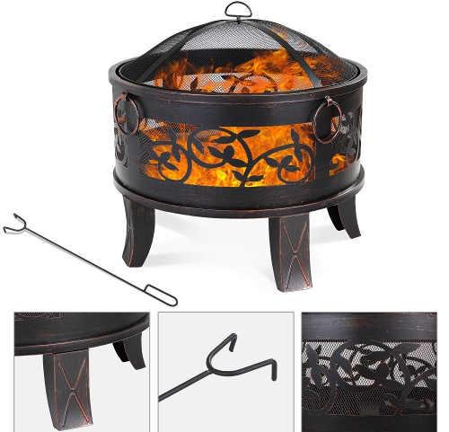 Zahradní přenosné ohniště s ozdobným kováním
