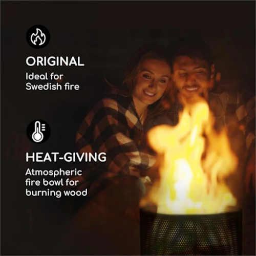 ocelový moderní koš na oheň