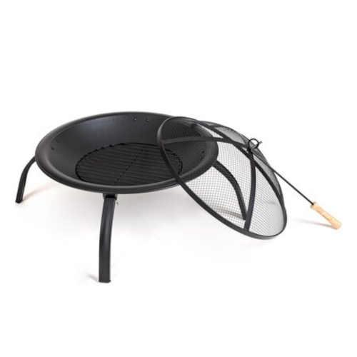 černé kovové přenosné ohniště