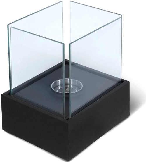 černý stolní krb z nerezu